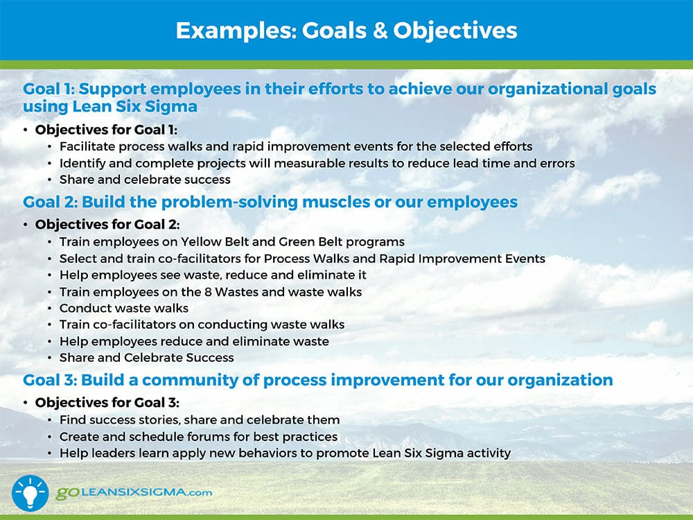 strategic planning goals and objectives template - strategic planning for a lean six sigma program office