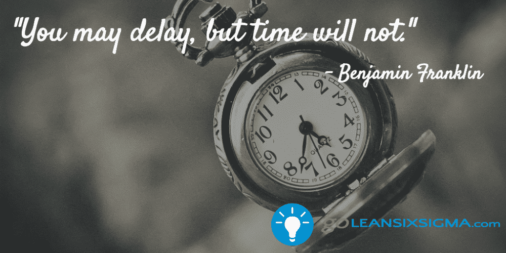 """You may delay, but time will not."" - Benjamin Franklin - GoLeanSixSigma.com"