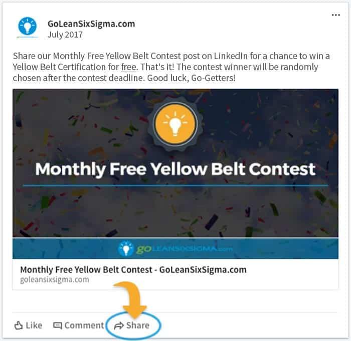 Monthly Free Yellow Belt Contest - July 2017 LinkedIn - GoLeanSixSigma.com