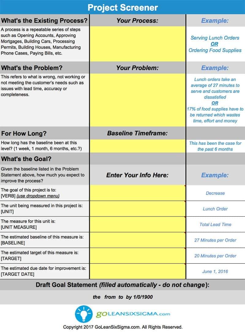 Project Screener - GoLeanSixSigma.com