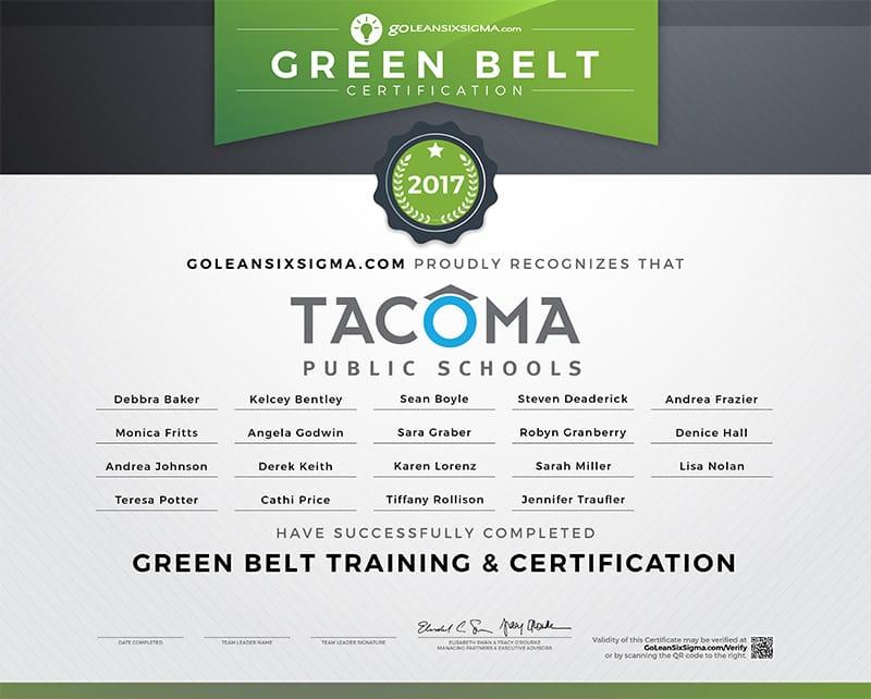 Green Belt Team Certificate: Cohort 2 - Tacoma Public Schools - GoLeanSixSigma.com