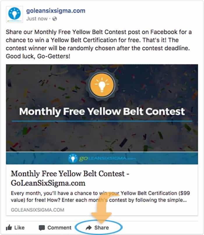 September 2017 Free Yellow Belt Contest - GoLeanSixSigma.com