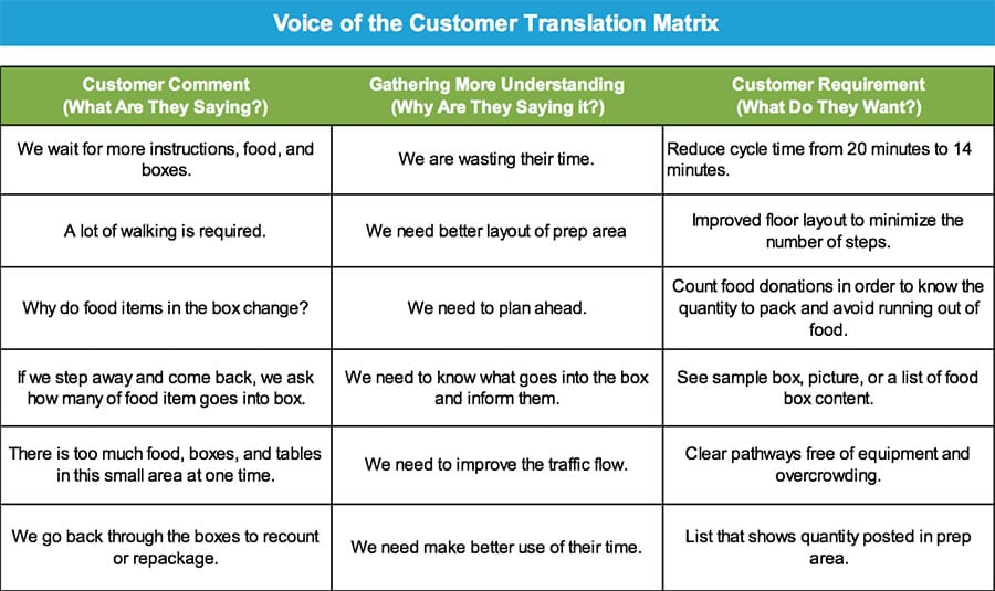 Voice of the Customer Translation Matrix - GoLeanSixSigma.com