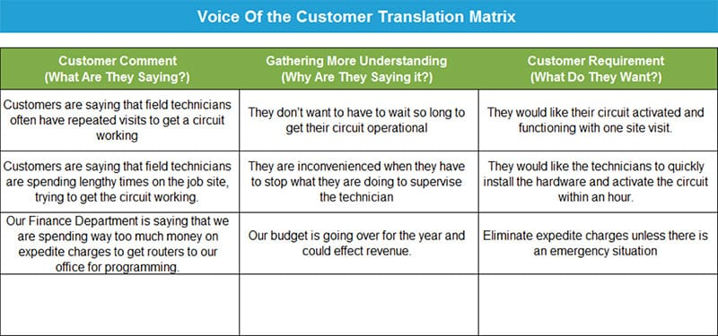 Anne Cesarone Green Belt Project Storyboard - Voice of the Customer Translation Matrix - GoLeanSixSigma.com