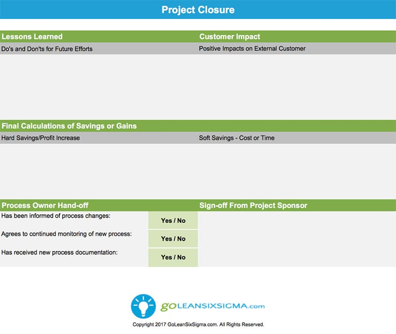 Project Closure - GoLeanSixSigma.com