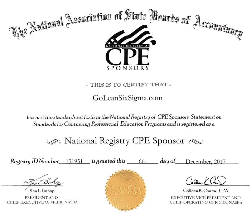 NASBA Certificate - GoLeanSixSigma.com