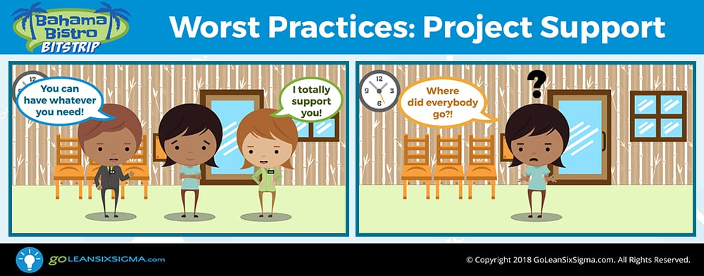 Bahama Bistro Bitstrip: Worst Practices - Project Support - GoLeanSixSigma.com