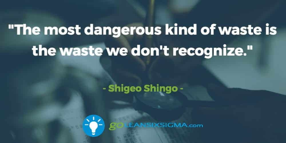 """The Most Dangerous Kind Of Waste Is The Waste We Don't Recognize."" Shigeo Shingo - GoLeanSixSigma.com"