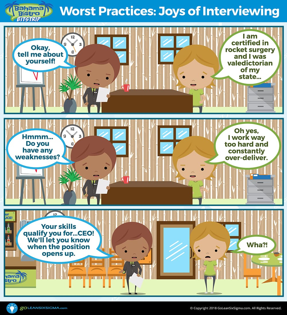 Bahama Bistro Bitstrip: Worst Practices - The Joys Of Interviewing - GoLeanSixSigma.com
