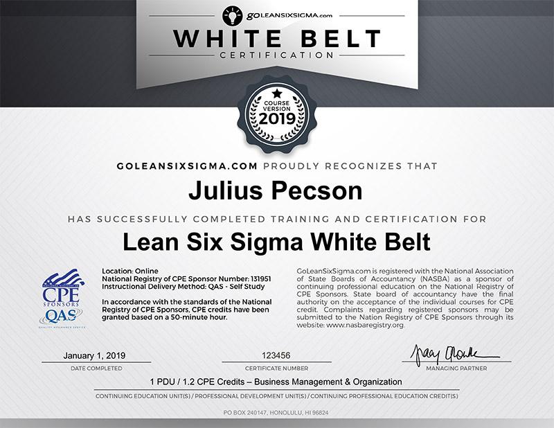 CPE Lean Six Sigma White Belt Certificate - GoLeanSixSigma.com