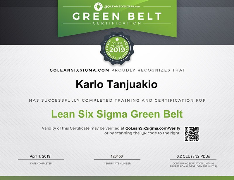 six sigma green belt course content