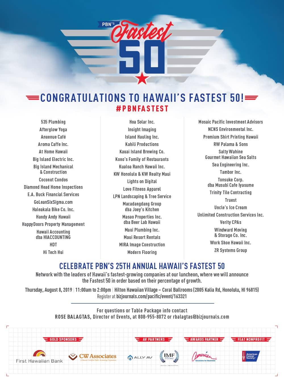 PBN Hawaii's Fastest 50 2019 - GoLeanSixSigma.com