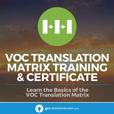 Voice Of The Customer (VOC) Translation Matrix Training & Certificate