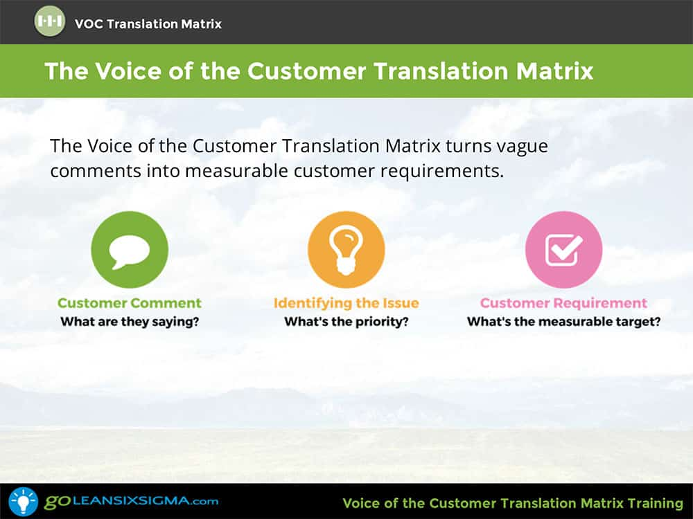 Voice Of The Customer (VOC) Translation Matrix Training & Certificate - GoLeanSixSigma.com