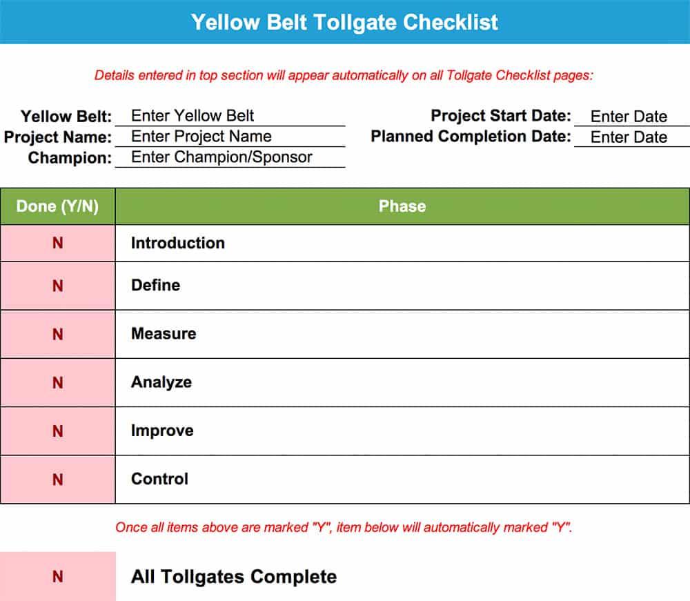 Yellow Belt Tollgate Checklist - GoLeanSixSigma.com